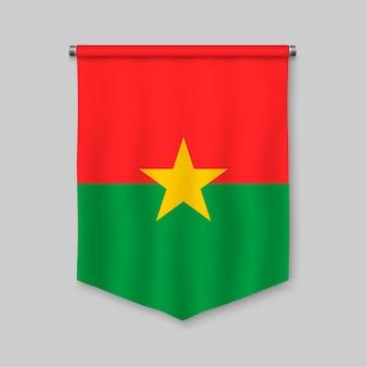 Banderín realista 3d con bandera de burkina faso.