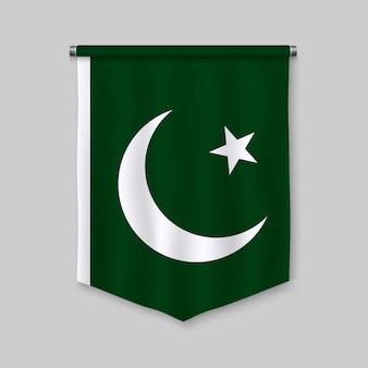 Banderín realista 3d con la bandera de pakistán