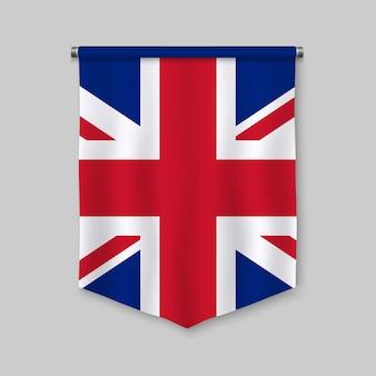 Banderín realista 3d con bandera de reino unido