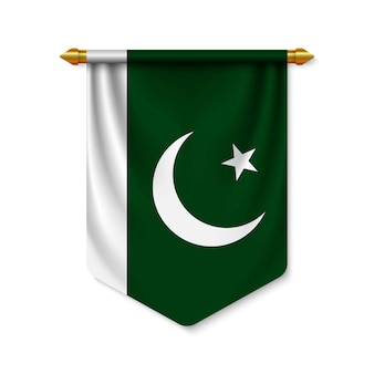 Banderín realista 3d con bandera