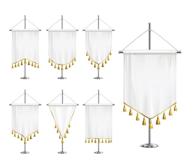 Banderines blancos en blanco de varias formas con flecos de borla dorada en conjunto realista de pedestal de aguja de acero