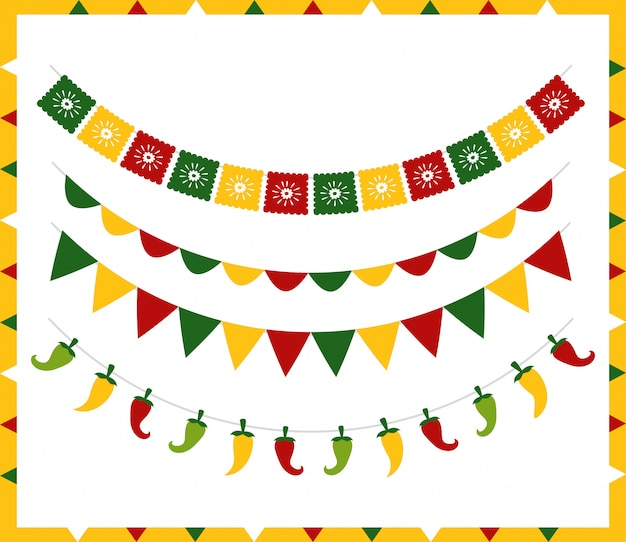 Banderines con diferentes símbolos mexicanos sobre blanco