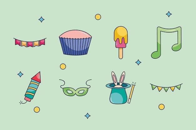 Banderines y fiesta conjunto de iconos sobre fondo verde