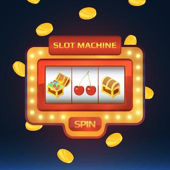 Bandido armado, máquina de juego en casino con diferentes imágenes aisladas.