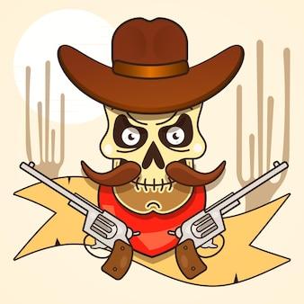 Bandido del cráneo del salvaje oeste con pistolas ilustración vectorial