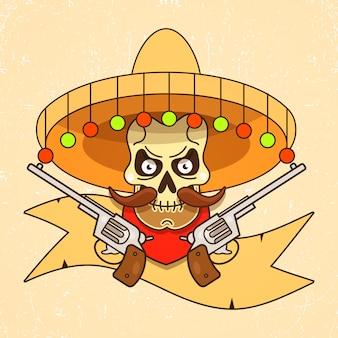 Bandido del cráneo salvaje oeste con vector de pistolas