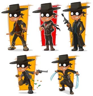 Bandido de dibujos animados en personaje de máscara negra