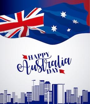 Baner del feliz día de australia con bandera y horizonte