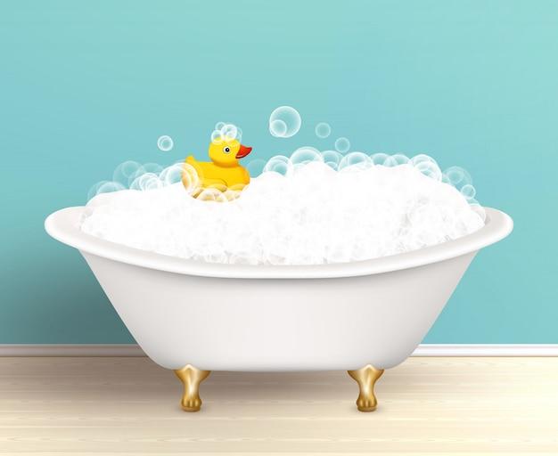 Bañera con cartel de espuma