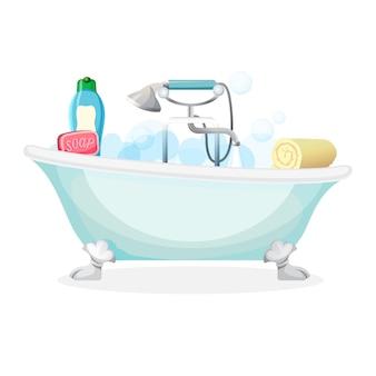 Bañera llena de espuma con burbujas