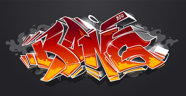 Bang: bloques 3d de graffiti de estilo salvaje con colores rojo y amarillo sobre fondo oscuro. letras de graffiti de arte callejero. arte vectorial.