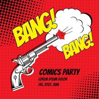 Bang, cartel estilo comic strip con efecto semitono.