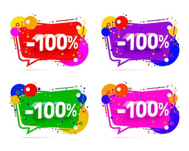 Banner 100 de descuento con porcentaje de descuento compartido, conjunto de colores. ilustración vectorial