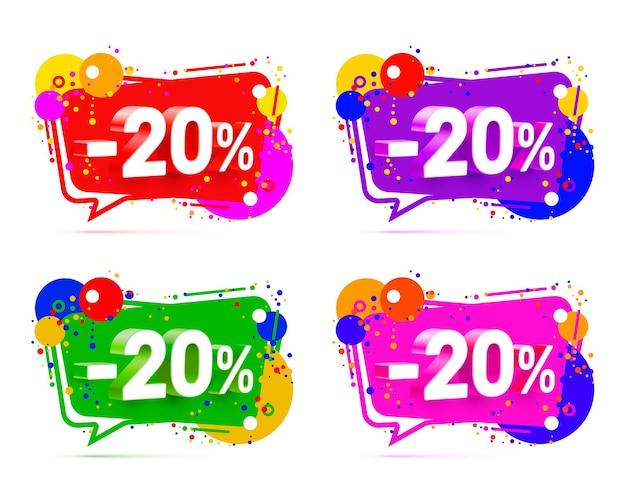 Banner 20 de descuento con porcentaje de descuento de acciones, conjunto de colores. ilustración vectorial
