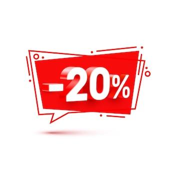 Banner 20 de descuento con porcentaje de descuento de acciones. ilustración vectorial