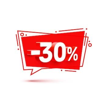 Banner 30 de descuento con porcentaje de descuento de acciones. ilustración vectorial