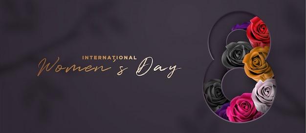 Banner 3d de lujo negro y oro para el día de la mujer