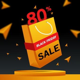 Banner 3d de venta de viernes negro