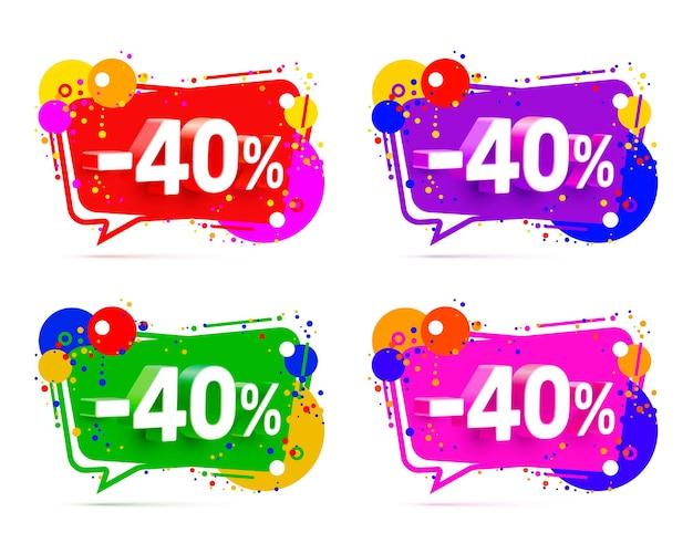 Banner 40 de descuento con porcentaje de descuento de acciones, conjunto de colores. ilustración vectorial