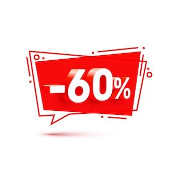 Banner 60 de descuento con porcentaje de descuento de acciones. ilustración vectorial