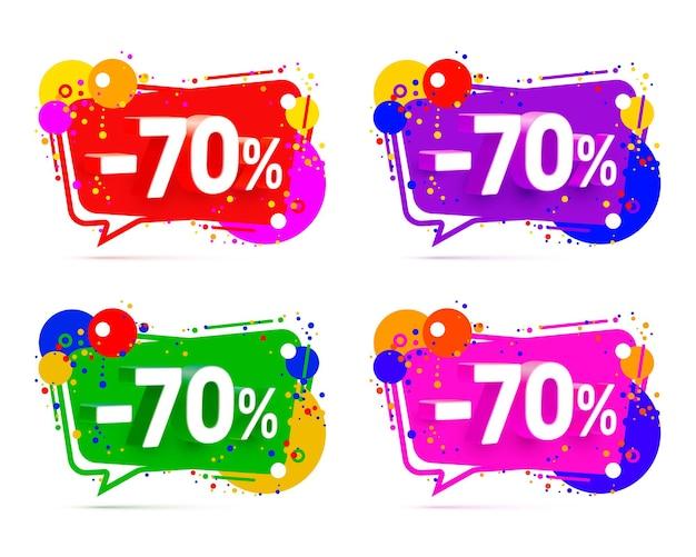 Banner 70 de descuento con porcentaje de descuento de acciones, conjunto de colores. ilustración vectorial