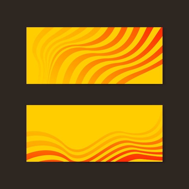 Banner abstracto amarillo y naranja