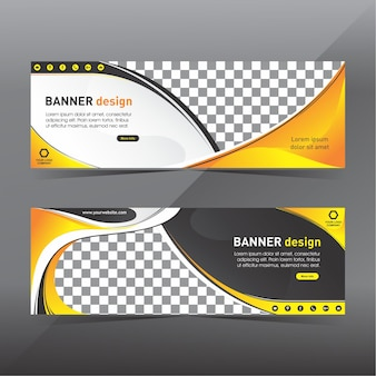 Banner abstracto amarillo y negro