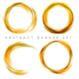 Banner abstracto en amarillo