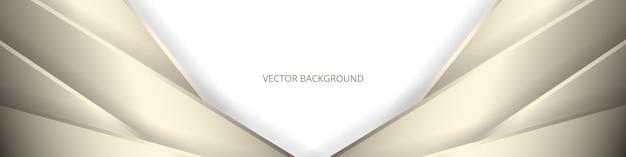 Banner abstracto ancho blanco con líneas doradas y sombras.