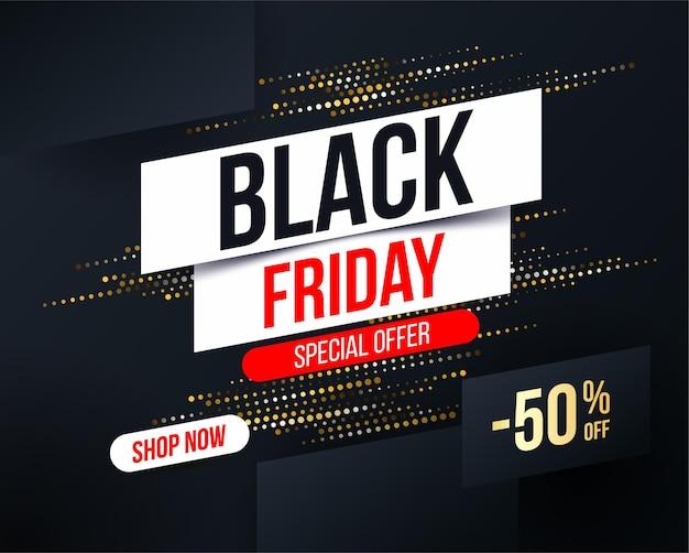 Banner abstracto de black friday con efecto de brillo de semitono dorado para ofertas especiales
