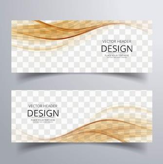 Banner abstracto con formas onduladas marrones