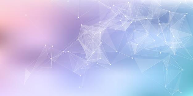 Banner abstracto con un diseño de comunicaciones de red de plexo de baja poli
