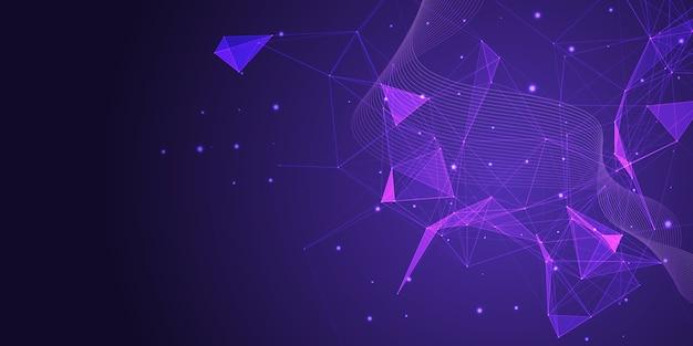 Banner abstracto con un diseño de conexiones de baja poli