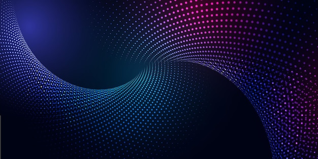 Banner abstracto con un diseño moderno de partículas cibernéticas