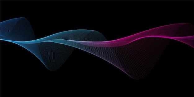 Banner abstracto con un diseño de ondas que fluyen del arco iris
