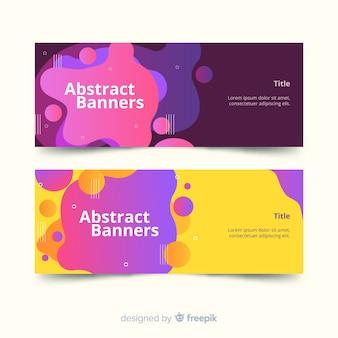 Banner abstracto con formas líquidas