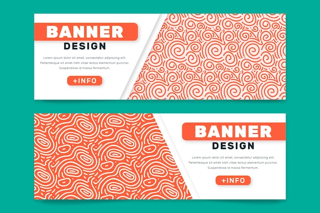 Banner abstracto con formas naranjas