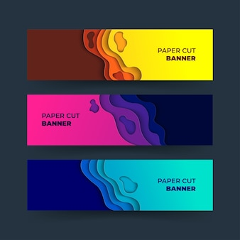 Banner abstracto con formas de papercut