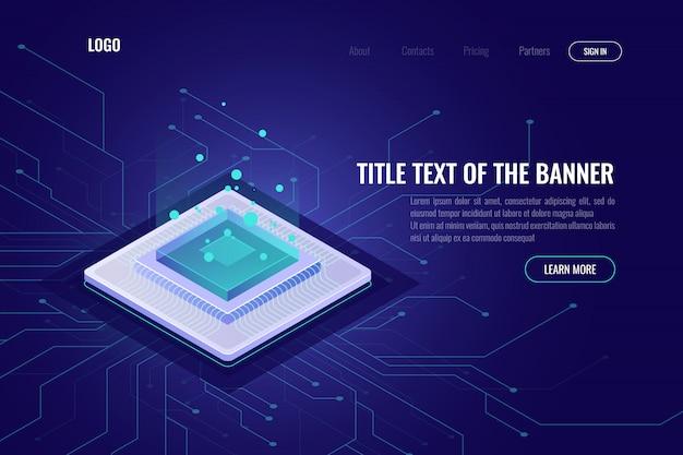 Banner abstracto isométrico de tecnología informática, servidor de cpu, procesamiento de big data, aprendizaje automático