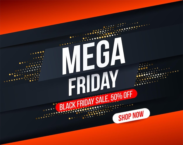 Banner abstracto de mega friday con efecto de brillo de semitono dorado para ofertas especiales
