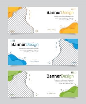 Banner abstracto moderno amarillo, azul y verde para la venta