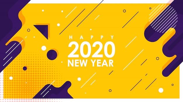 Banner abstracto moderno de feliz año nuevo 2020 con vector plano
