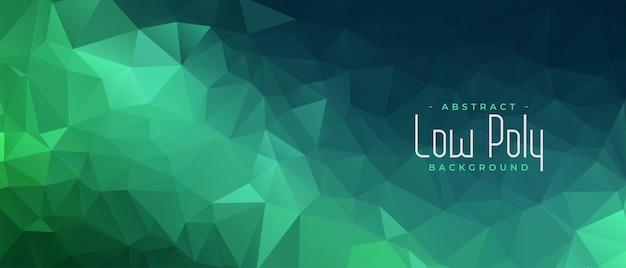 Banner abstracto poligonal verde con formas triangulares