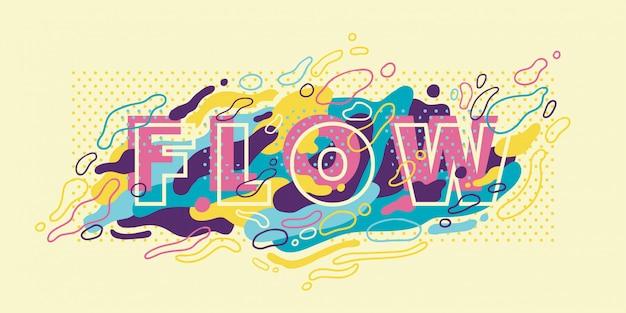 Banner abstracto con tipografía y formas fluidas de colores.