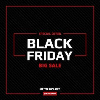 Banner abstracto de venta de viernes negro. fondo de dibujos animados comerciales negro y rojo con líneas diagonales y marco.