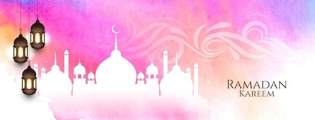 Banner de acuarela de ramadán kareem con mezquita