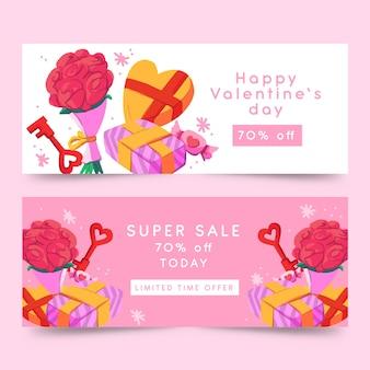 Banner de acuarela de san valentín con flores y chocolate