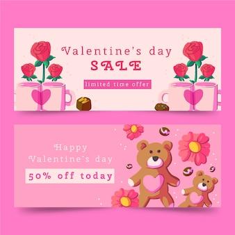 Banner de acuarela de san valentín con rosas y osos de peluche