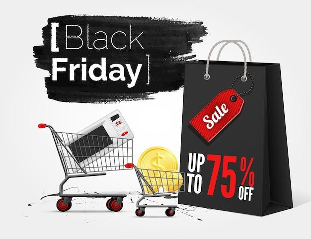 Banner de acuarela de viernes negro con salpicaduras de tinta y bolsa de compras y un carro