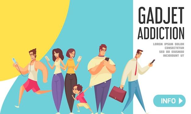 Banner de adicción a gadgets con personas que buscan en sus teléfonos inteligentes caminando con niños que van a la oficina corriendo en el banner del parque